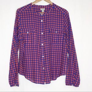 Roots Canada Check Plaid Button Top Women's XL